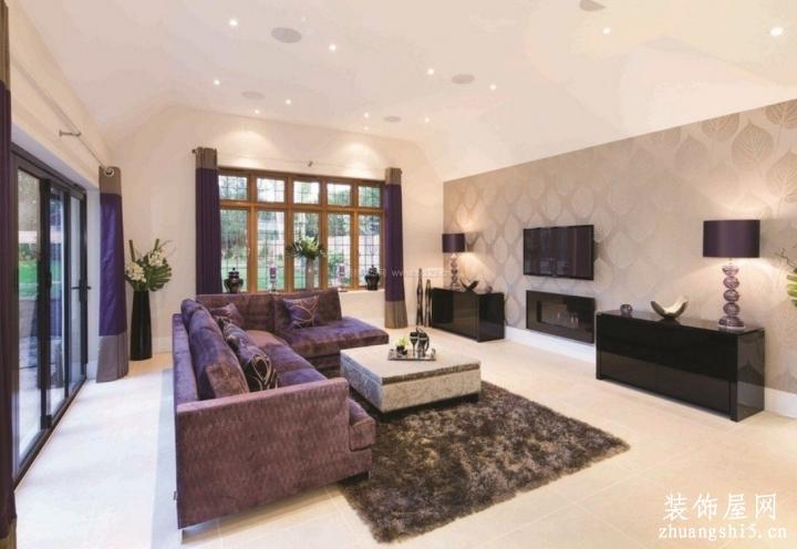 大客厅室内紫色系沙发图片2018