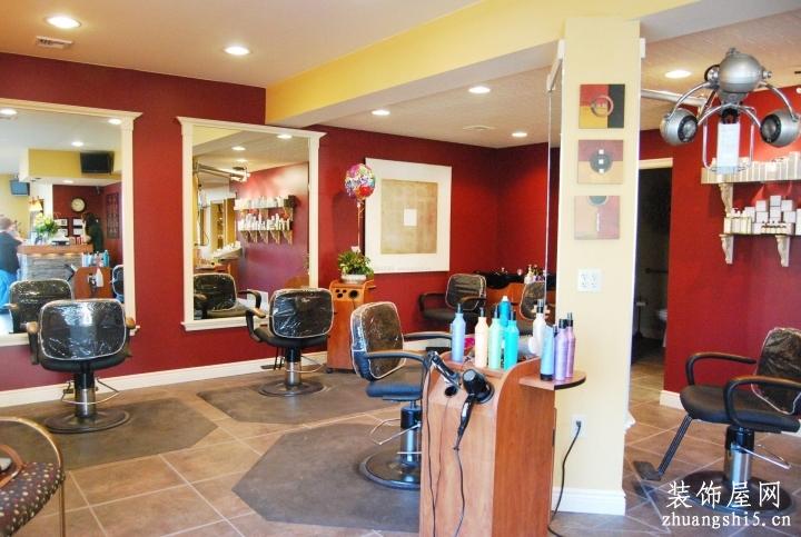 理发店门面室内红色墙面装修效果图片