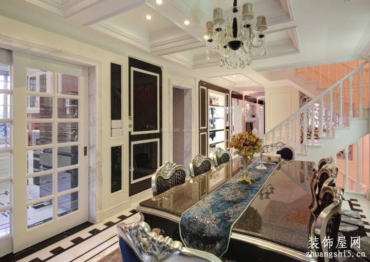 欧式跃层室内厨房玻璃隔断造型效果图片