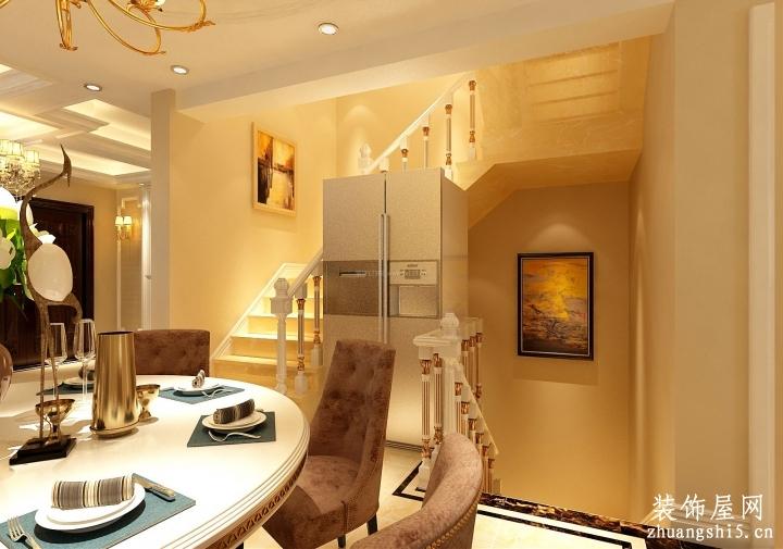 欧式别墅室内餐厅楼梯间装修效果图
