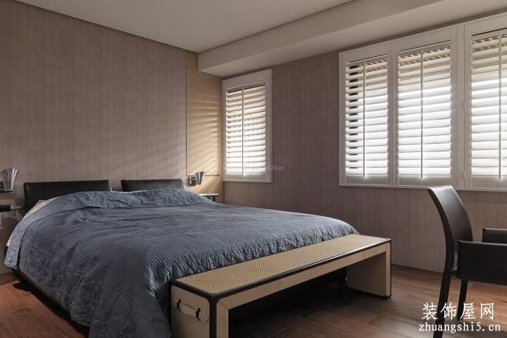 港式風格室內樣板間臥室床尾凳設計案例