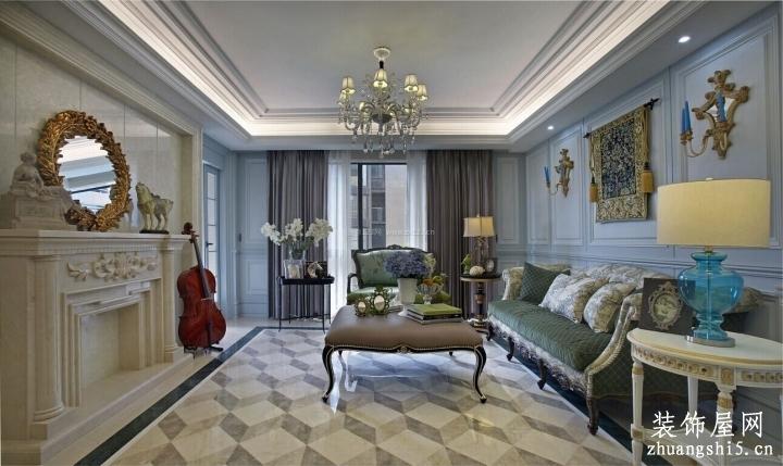 家庭歐式風格房子室內裝修地磚效果圖